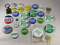 Vintage Campaign 1980's Connecticut Political Pin Button Campaign Lot Keychain
