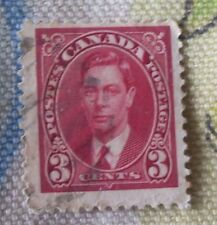 RARE BRITISH ROYAL STAMPS AROUND THE WORLD: CANADA 3 CENT 1937 King George VI RED  限量版加拿大英皇喬治六世1937年郵票