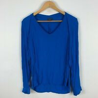 Sheike Womens Blouse Top 12 Blue Long Sleeve V-Neck