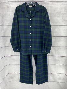 LL Bean Scotch Plaid Flannel Pajama Set Cotton Sz M