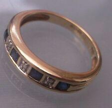 Women's Half-eternity 9ct Gold Sapphire & Diamond Ring Size M Weight 2.42g