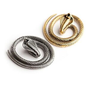 Cobra Snake Gold / Silver Ear Weights Hangers 5mm+ 316l Surgical Steel