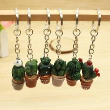 Simulation Mini Plant Potted Cactus Resin Key Chain Keyring Bag Accessories Gift