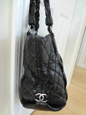 CHANEL BLACK CC LOGO CALFSKIN LEATHER QUILTED CHAIN XL HOBO BAG