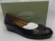 Nurture Serene Women's BLACK/NAVY LEATHER  Wedge Heels Shoes SZ 10.0 M NEW D653
