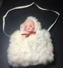 Child's white Satin Lined Faux fur muff with doll head vtg hand warmer 1950's
