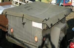 M416 Military Trailer Olive Drab Canvas Cover with Rope Kit Mil-Spec
