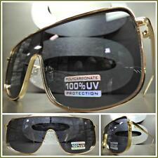Men's or Women VINTAGE RETRO SHIELD Style SUN GLASSES Gold Frame Dark Black Lens
