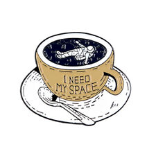"""Astronaut Mug Cup Enamel Lapel Pin """"I Need My Space"""" Brooch Badge Clothes Gifts"""