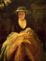 Oil painting Joshua Reynolds - Young woman Nelly O'Brien with her pet dog canvas