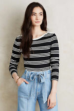 NWT ANTHROPOLOGIE STRIPED BLACK & WHITE BOATNECK TOP TEE EVERLEIGH Size M