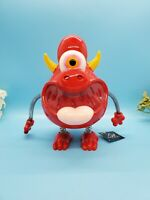 New Monster Money Bank With Wire Wobbly Arms & Legs Red One Eyed Perfect Gift