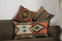 4 Set of Wool Jute Throw Indian Pillow Cover Vintage Handmade Kilim Rugs 10065