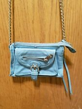 Junior Drake womens blue leather purse handbag shoulder bag silver chain small