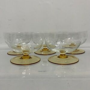 5 x Vintage Cut Glass Champagne Coupe Glasses Cocktail Glass 40s 50s Style