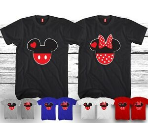 MICKEY AND MINNIE T-SHIRTS VALENTINE MATCHING HEADS CUTE LOVE COUPLES NEW COOL
