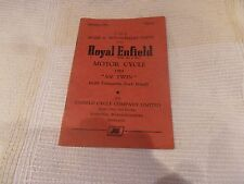 ROYAL ENFIELD 500 TWIN 1954 TWIN PARTS MANUAL WITH CASQUETTE FORK HEAD