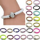 Unisex Magnetic Bracelet Leather Buckle Bangle Wristband Rhinestone Fashion