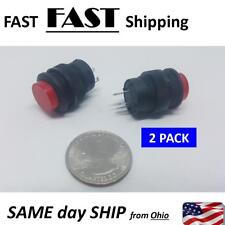 2 PACK --- Red 3V LED Light Illuminated OFF- ON - NO Latching Push Button Switch