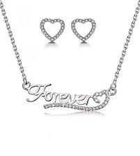 925 Sterling Silver Forever Heart Set - Necklace & Stud Earrings