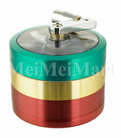 "2.4"" 4 PC Rasta Tobacco Herb Spice Grinder W/ Handle Crank Herbal Smoke Crusher"