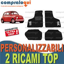 per FIAT 500 EPOCA 57-75 TAPPETINI AUTO in MOQUETTE e FONDO GOMMA + 2 RICAMI TOP