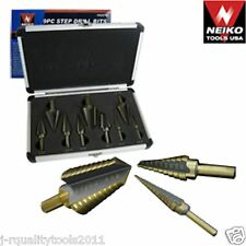 9PC (SAE) Step UNI-DRILL BIT set in Aluminum Carry Case TRI-FLAT SHANK