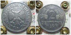 GERMANIA GERMANIY  2 MARK GRAPES 1951 STOCCARDA F REPUBLIC FEDERAL RARA BB/SPL