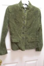 Chadwick's Dark Green 100% Suede Leather Mandrin Collar Button Front Jacket 6M