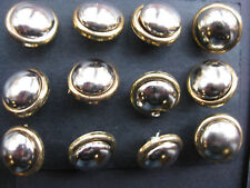 13mm Small Antique Silver Domed with Gold Edge Vintage Sewing Buttons Set of 12