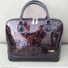 Serenade - Leopard Print and Croc Textured Patent Leather Handbag