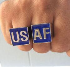 Stainless Steel USAF 2 Piece MC Club Biker Ring Set Helios font Custom size
