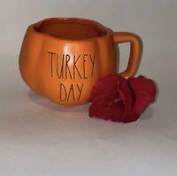 Rae Dunn Artisan Orange Turkey Day Pumpkin Shape Mug LL Fall By Magenta