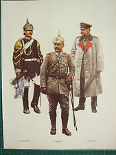 VINTAGE WW1 WWI PRINT ~ PRUSSIA TRUMPET-MAJOR KAISER FIELD MARSHAL HINDENBURG