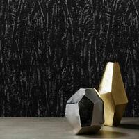 Plain Flocked Wallpaper charcoal black Flocking velvet Velour flock Textured 3-D
