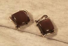 Lovely Vintage Shiny Openwork Silvertone Swooped Caramel Celluloid CLIP Earrings