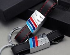 New M-Colored Stripe Black Leather Center ///M Power Sport Keychain BMW Key Ring
