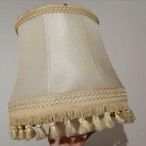 Vintage Silk Fabric Light Lampshade. Tasselled Lined Cream