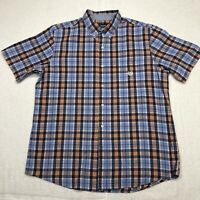 Chaps Button Up Shirt Adult Extra Large Blue Orange Short Sleeve Casual Mens*