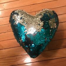 Sequin Heart Pillow - turquoise and silver