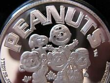 1-OZ.999 SILVER PEANUTS GANG CHARLIE BROWN, SNOOPY, LUCY POKER GUARD COIN+GOLD