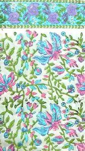 Indian Cotton Fabric Kurti Sanganeri Running Women dress 5 yard Hand Block Print