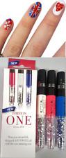 3 In 1 Nail Varnish Pen Art Design Gem Polish Manicure Decoration Brush Set