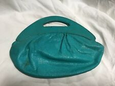 RARE VINTAGE MR CHRISTIAN SMALL BAG TEAL COLOUR LEATHER HAS A FEW MARKS