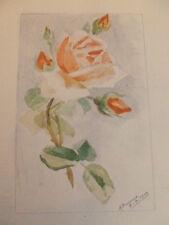AQUARELLE COULEUR / Rose 1910 signé  M.Boussard