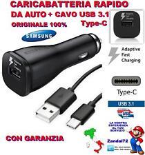 CARICA BATTERIA RAPIDO ORIGINALE SAMSUNG AUTO CAVO USB 3.1 TYPE-C A3 A5 A7 2017