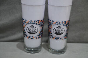 Pair Of (2) Estrella Galicia Beer Lager One Pint 20oz Glass Barcelona Spain M17
