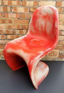 Pair vintage retro stylish 1960s Red plastic Vitra Panton style chairs