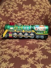 VERY RARE VINTAGE BATTERY OPERATED GIANT LOCOMOTIVE TIN TRAIN