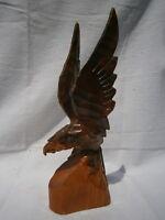American Eagle Vtg Hand Carved Wood Sculpture Folk Art Figure Flying Bird Statue